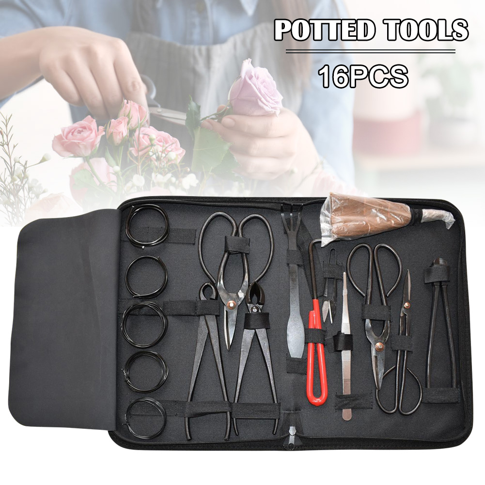16Pcs Bonsai Tool Garden Bonsai Tool Set Carbon Steel Extensive Kit Cutter Scissors Kit With Nylon Case For Garden Pruning Tools