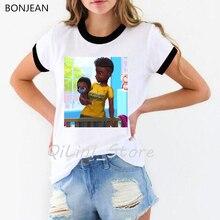 Melanin Poppin shirt cute casual black girl t shirt women summer tops super mom tshirt femme harajuku ulzzang shirt streetwear цены