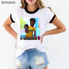 Melanine Poppin shirt leuke casual black girl t shirt vrouwen zomer tops super mom t-shirt femme harajuku ulzzang shirt streetwear(China)