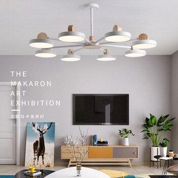 Nordic Chandelier Iron wood LED Chandeliers Macaron Ceiling Chandelier Lighting Living Room Bedroom Light Fixture Hanging Lamp