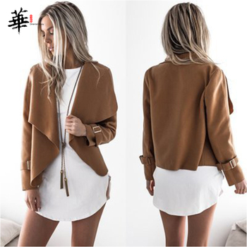 Solid Asymmetric Turn-down Collar Cardigan Jacket Long Sleeve Autumn Casual Women Jackets and Coats 2019 Outerwear Clothes asymmetric long sleeve top