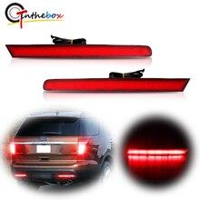 Gtinthebox 2x超高輝度ヨーロッパスタイルlh rh赤色ledバンパーリフレクターリアブレーキテール 2011 2015 フォードエクスプローラー