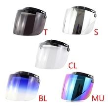 Windproof 3 Snap Visor Lens Shield for Motorcycle Helmets Flip Up Down Open Face Q9QD
