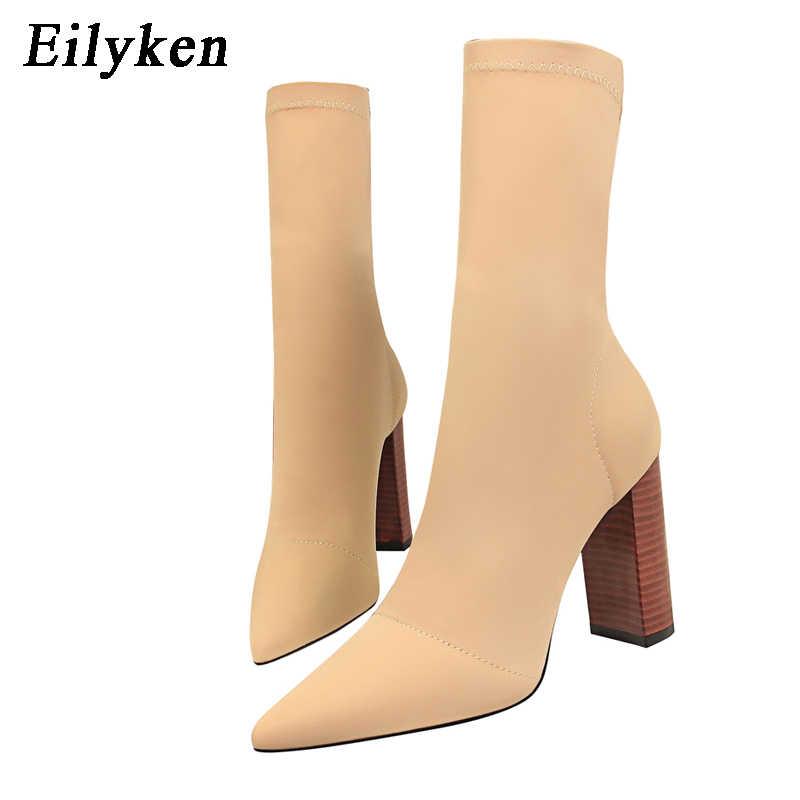 Eilyken konfor streç kadın çorap kare yüksek topuk yarım çizmeler moda sivri burun sonbahar streç ayakkabı siyah büyük boy 2020