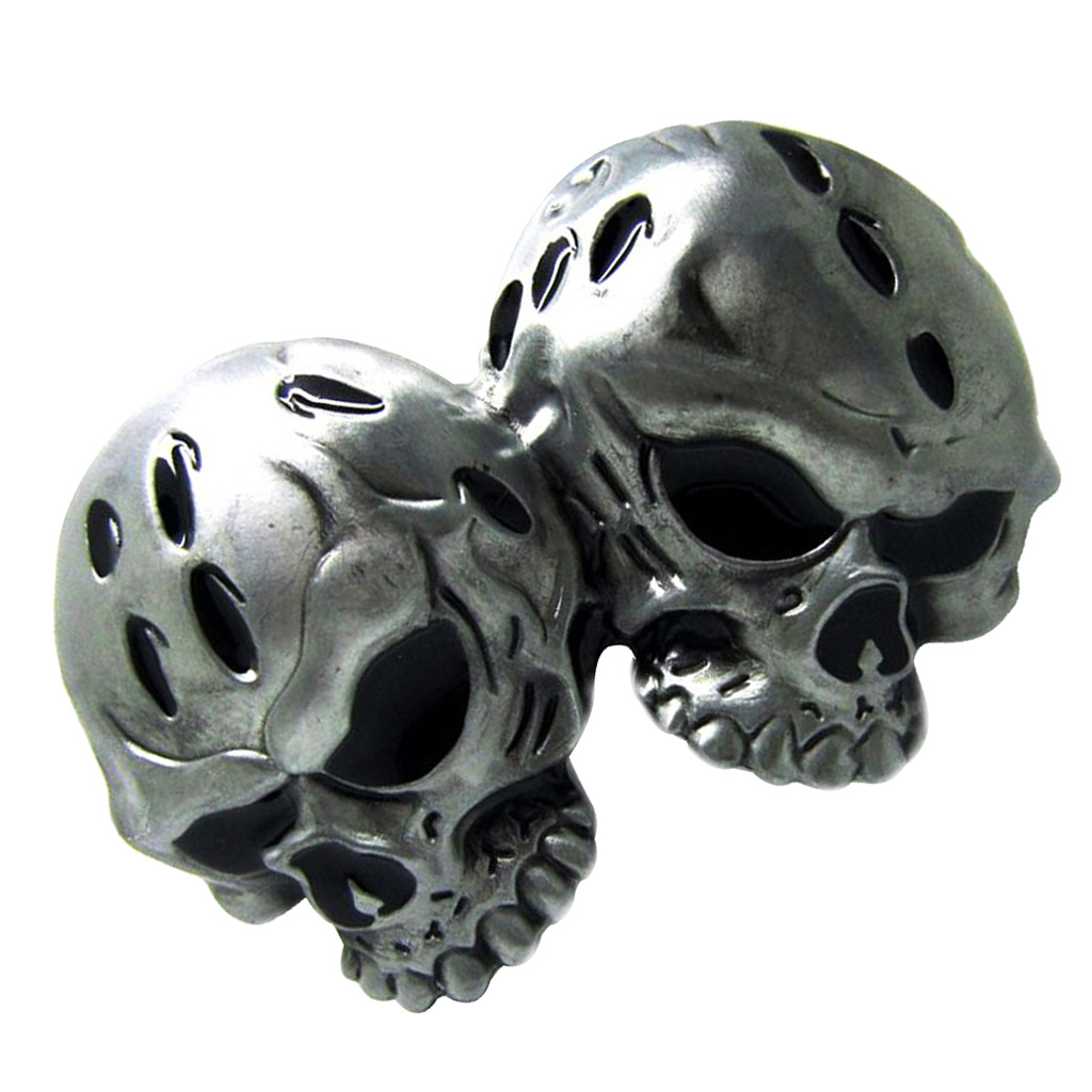 Vintage Western Belt Buckle Double Skull Head Gothic Rock Classic Men Silver Belt Buckle