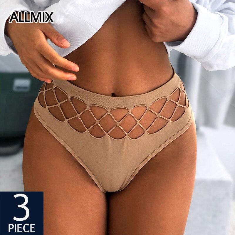 ALLMIX 3 adet/grup seksi kadınlar Hollow Out külot iç çamaşırı dikişsiz külot katı kadın moda külot konfor kadın Intimates Tanga