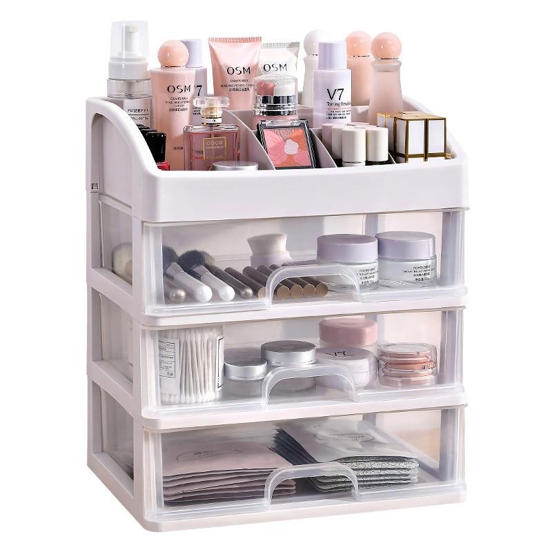 Desktop Cosmetics Stationery Storage Box Drawer Cabinet Jewelry Finishing Storage Box Plastic Storage Box 2, 3 Layers