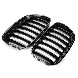 Image 2 - 2Pcs Gloss Black Car Front Kidney Grill Grilles Right & Left for BMW X5 E53 2004 2005 2006 ABS 51137124815 51137124816