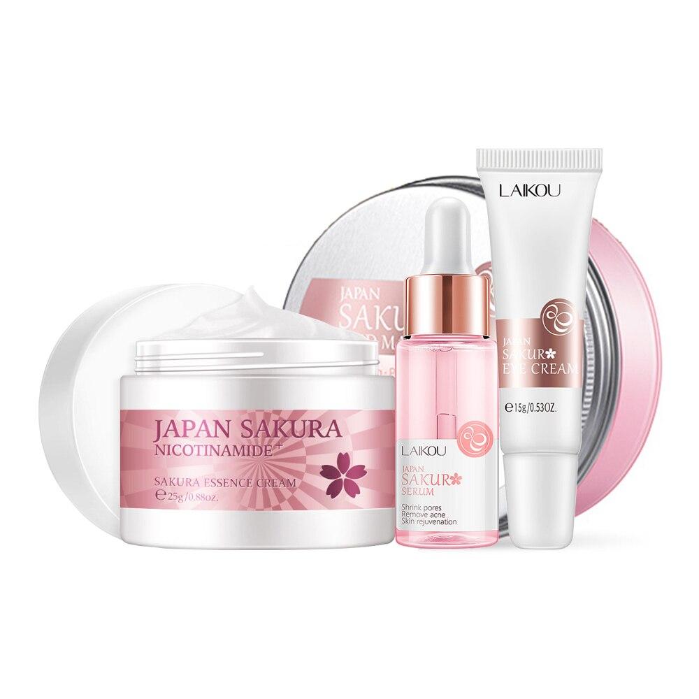 Rosto cuidados com a pele conjunto flor de cerejeira essência hidratante colágeno creme para os olhos & rosto soro & máscara de lama facial beleza conjunto de maquiagem