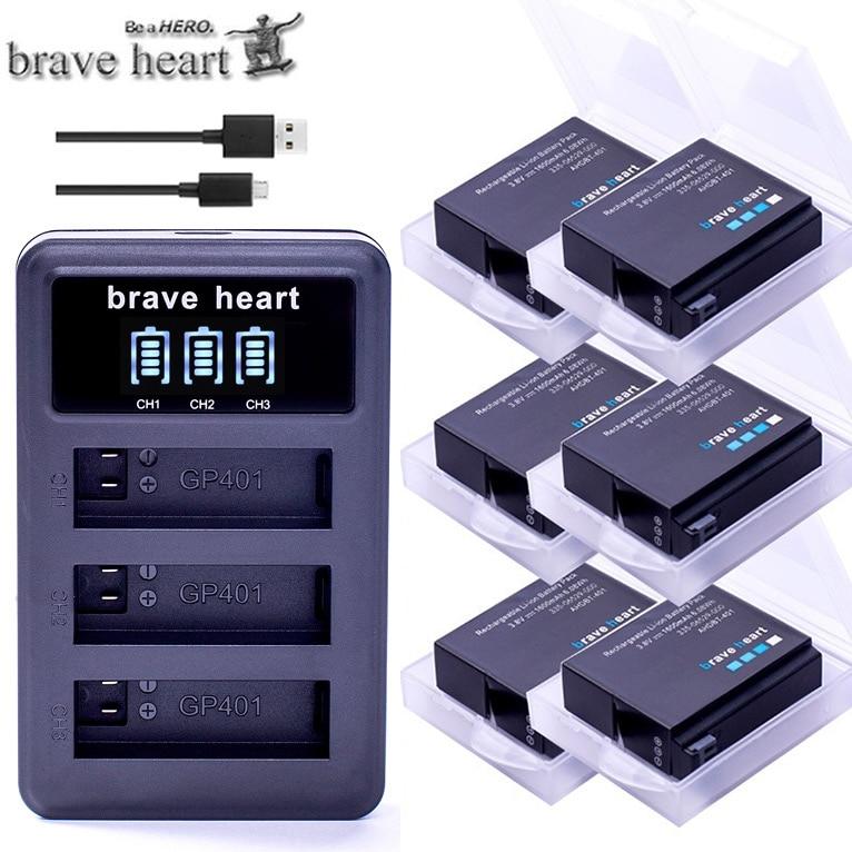 Bateria Gopro hero 4 hero 4 batterie + LED 3 emplacements chargeur USB pour GoPro hero 4 noir/argent/blanc accessoires caméra d'action