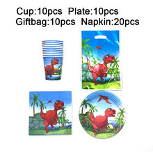 Kids Happy Birthday Party Disposable Tableware Red Dinosaur Plates Gift Bag Napkins Home Family Decor Sets 50pcs/lot