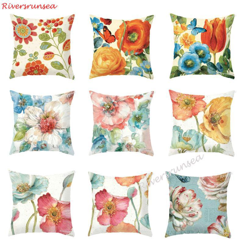 Color Painted Pink Flower Pillow Pastoral Style Garden Peony Flowers Bird Garland Butterfly Printed Chair Cushion For Home Decor