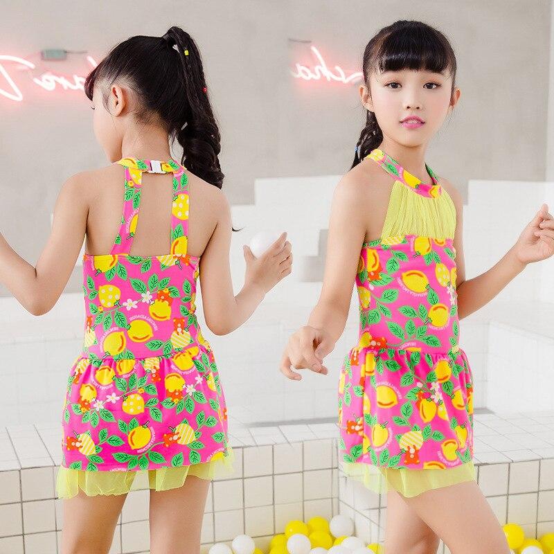 Children One-piece Printed Boxer Bathing Suit Sweet Princess Skirt Baby-Big Virgin Girls Swimming Suit Nt493107