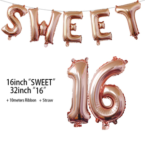 Image 5 - Sweet 16 Party Decorations Supplies Sixteen Birthday Decorations 16 Years Birthday Number Foil Balloons
