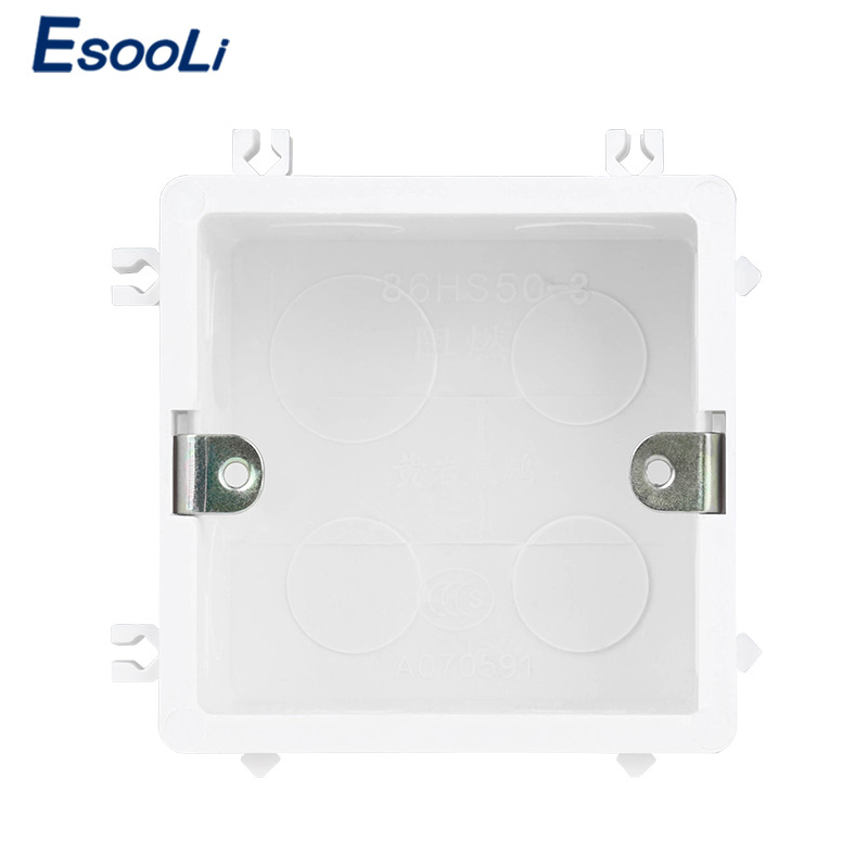 EsooLi High Quality PVC Plastic Flame Retardant Waring Back Box Adjustable Mounting Box Internal Cassette For Switch And Socket
