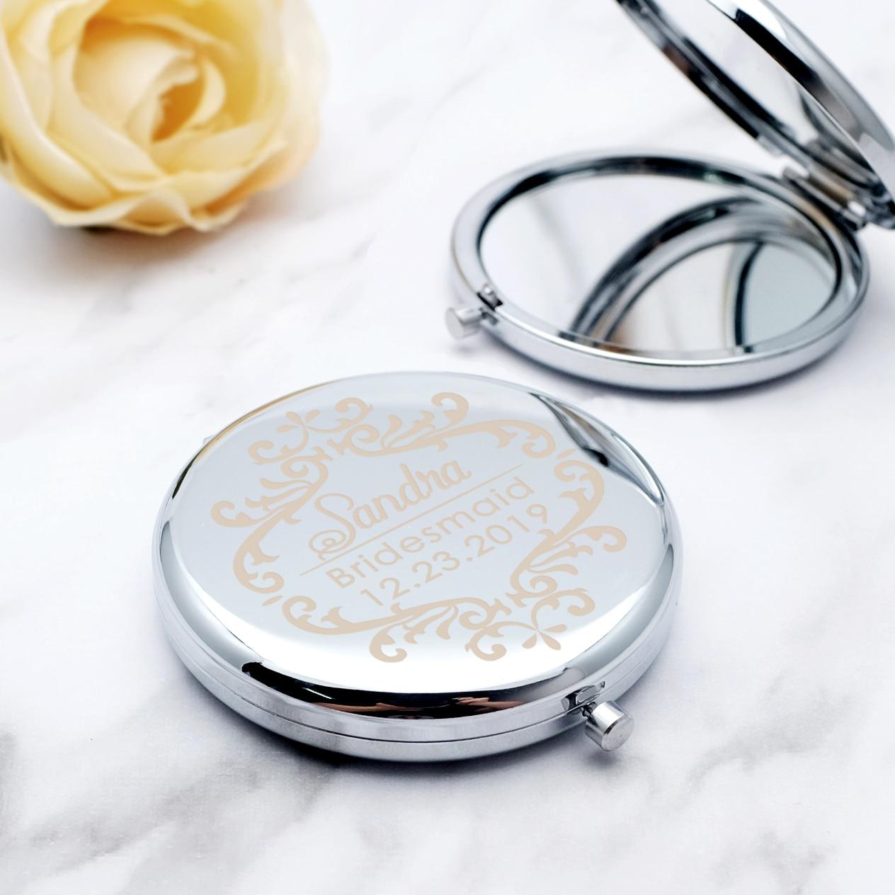 Personalised Compact Mirror Bridesmaid Gift Pocket Mirror Makeup Handbag Mirror Bridal Party Gift Wedding Favor