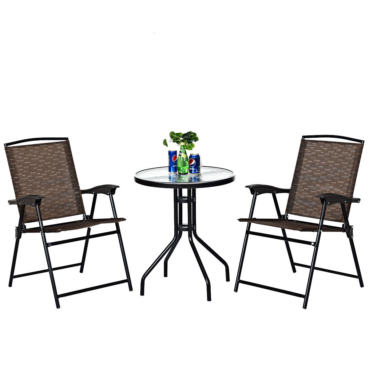 Costway 3pc Bistro Patio Garden Furniture Set 2 Folding Chairs Glass Table Top Steel Aliexpress