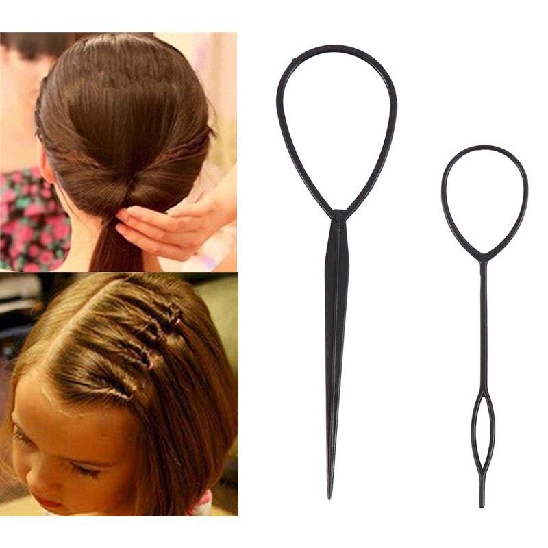 4PCS/Set Hair Tools Ponytail Creator Plastic Loop Popular Hair Styling Tools Black Topsy Tail Clip Hair Braid Maker Salon