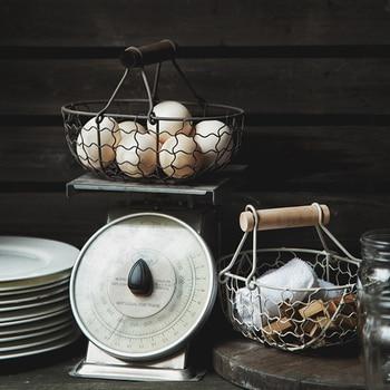 Vintage Old Wrought Iron Storage Basket Kitchen Fruit Bread Basket Storage Basket Desktop Kitchen Storage for Home Decoration