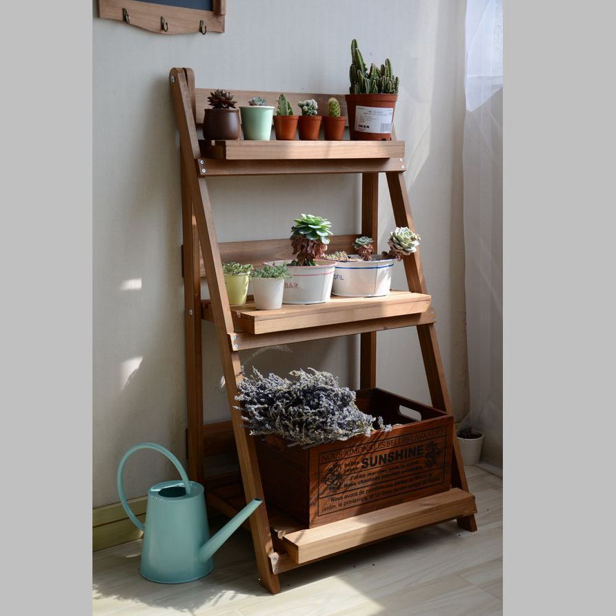 Plant Shelves Louis-Stand Balcony Three-Storey Wooden Outdoor Formaldehyde-Free Multi-Flesh