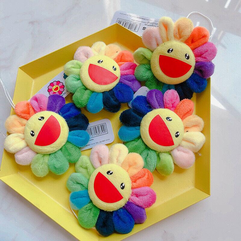 Pudcoco Flower Takashi Murakami Kiki Kaikai Brooch Rainbow Pin Badge Strap Plush Cute Toys
