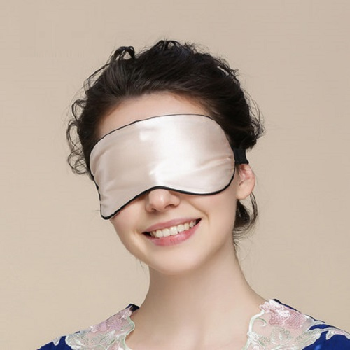Unisex 100% Silk Blindfold Sleeping Double Sides Eyeshade Cover Eye Patch Relieve Fatigue Adjustable Bands Black Grey Champagne
