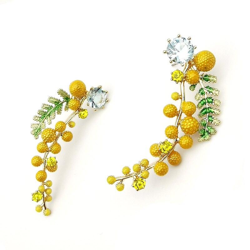 New Korean Design Stud Earrings Rhinestone Flower Provenc Fruit Wheat Orange High Quality Elegant Long Fashion Jewelry For Women