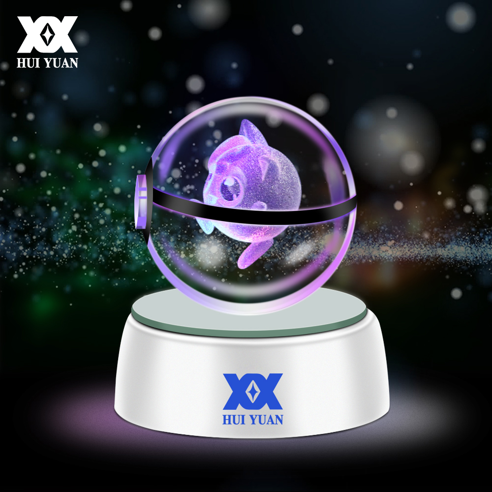 HUI YUAN 3D Crystal Ball LED Lamp For Pokemon Series Pikachu/Gengar/Jigglypuff 5CM Desktop Decoration Light Glass Ball HY-668