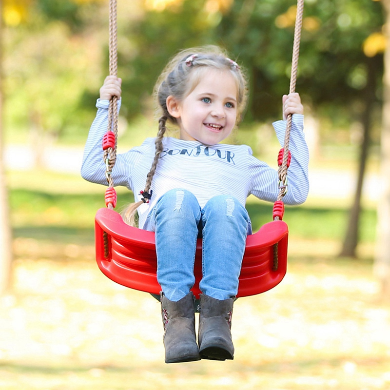 Promotion--New Bright Colors Environmental Plastic Garden Or Yard Tree Swing Rope Seat Molded For Kids Enjoy Flowers Birdsong Sw