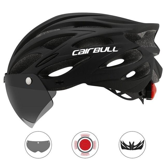 Cairbull ultraleve ciclismo intergralmente-moldado capacete de estrada mountain bike equitação capacete com viseira removível óculos de bicicleta taillig 4