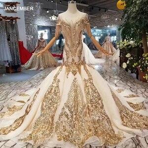 Image 1 - LS22005 luxury mermaid wedding dresses with golden lace o neck tassel short sleeves open back trumpet robe de mariée sirène