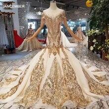 LS22005 יוקרה בת ים שמלות כלה עם זהב תחרה o צוואר ציצית קצר שרוולי גב פתוח חצוצרת robe דה mariée sirène