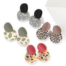AENSOA – boucles d'oreilles rondes en argile polymère pour femmes, uniques, irrégulières, colorées, léopard, géométriques, bijoux de fête, nouvelle collection 2020