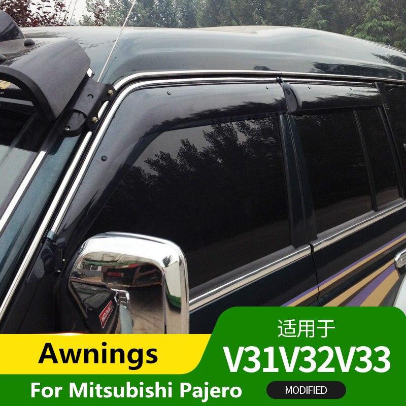 Auvents et abris pour Mitsubishi Pajero V31 V32 V33 2007-2014 accessoires tout-terrain modifiés pour sourcils de pluie
