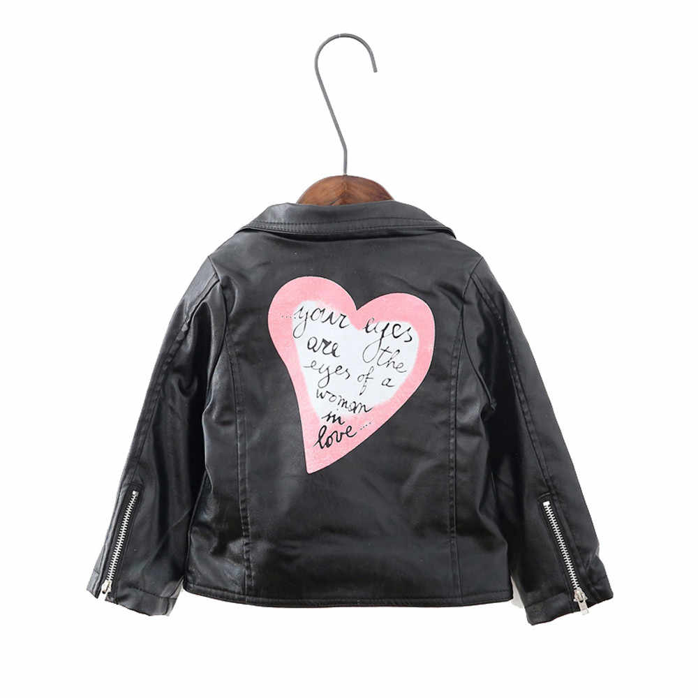 2019 New Fashion Winter Spring and Autumn and the Wind PU Leather Leather Coat Baby Boys and Girls Short Children Jacket