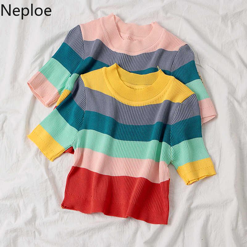 Neploe 2020 봄 레인보우 스트립 짧은 스웨터 여성 하라주쿠 캐주얼 한국 슬림 스트라이프 여성 o-넥 풀오버 귀여운 스웨터 81421