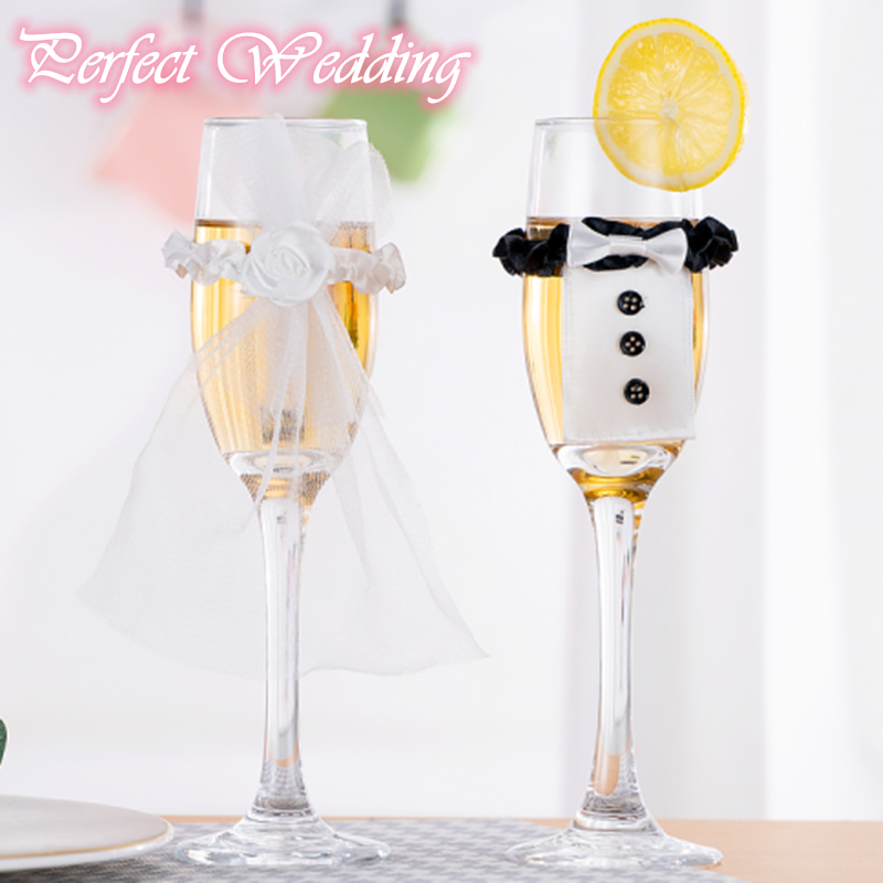 2 Pcs/1 Pair Cup Decoration Bride And Groom Wedding Engagement Party Table Cup Glass Cover Wedding Party DIY Accessories 40%off