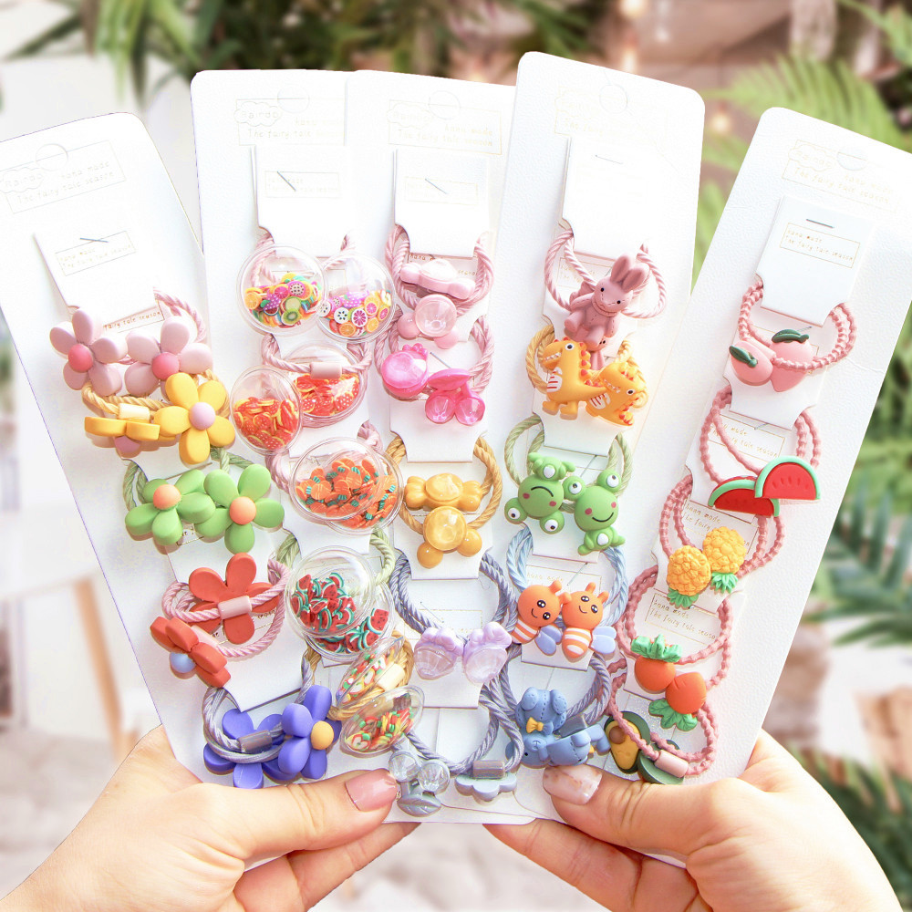 2/10Pcs/Set Children Cartoon Bear Flower Elastic Hair Bands Girls Cute Rubber Bands Scrunche Kids Hair Accessories Headdress