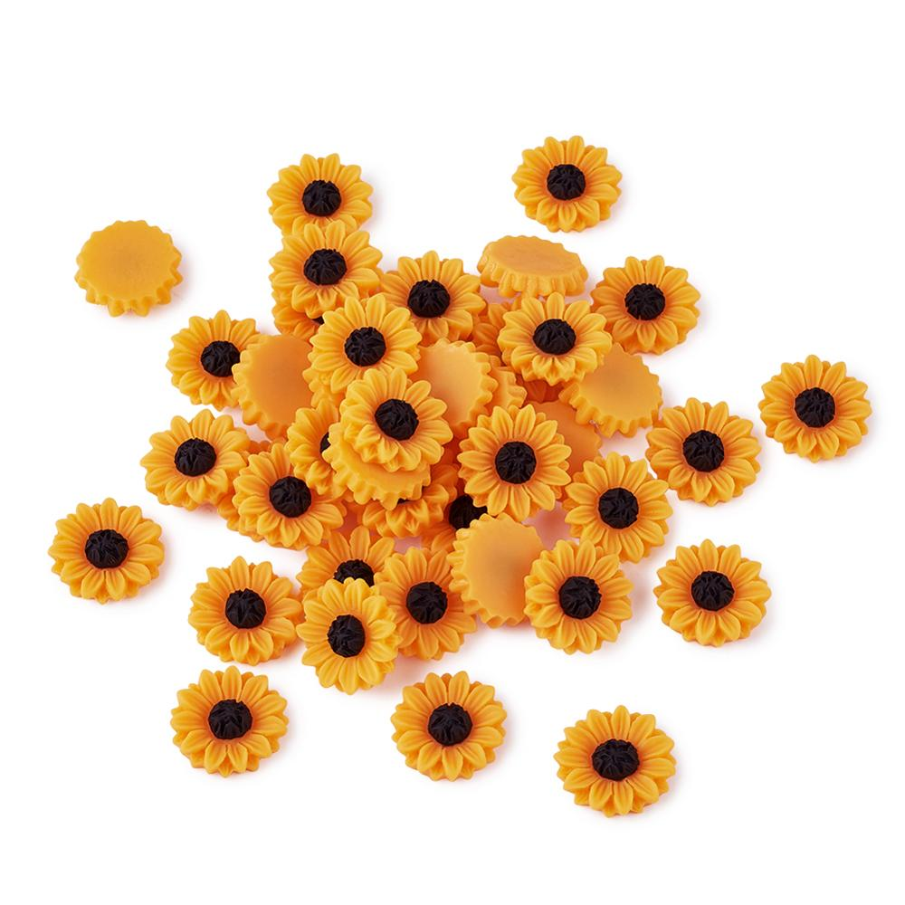 50pcs Resin Cabochons Sunflower For Earring Jewelry DIY Making Embellishments Applique Wedding Scrapbook Craft DarkOrange