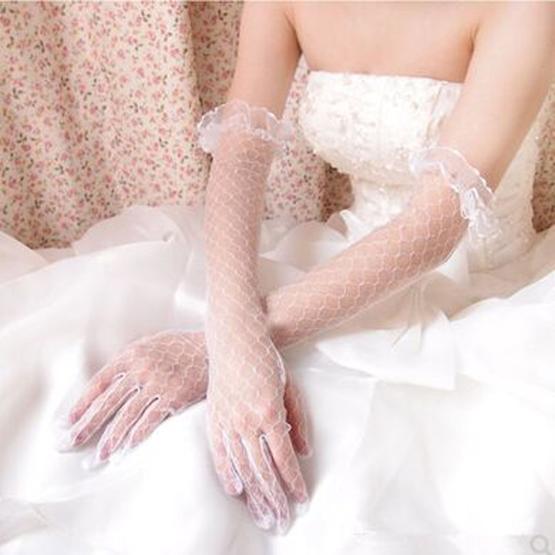 Bridal Wedding Dress Accessories Gloves Lace Long Transparent Ruffle Gloves