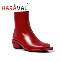 Haraval женские осенне красные полусапожки на шнурках; Кожаные