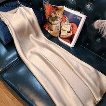 2021 Лето женское длинное платье-комбинация пикантные однотонные женское Полосатое повседневное пляжное платье длины макси на тонких бретел...