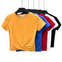 T-shirt femme haut court été chemise forme croisée femmes haut court T-Shirt décontracté solide T-Shirt coton taille haute Camiseta Mujer