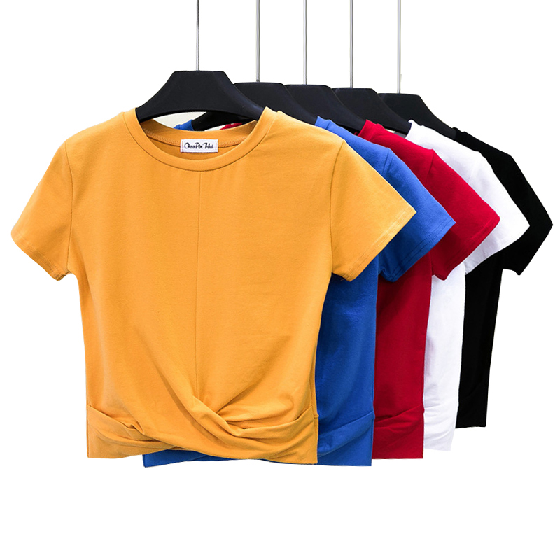 Women's T-shirt Crop Top Summer Shirt Cross O-neck Women Crop Top T-Shirt Casual Solid T-Shirt Cotton High Waist Camiseta Mujer