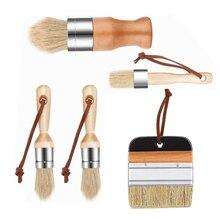 Paint-Brush Crafts DIY 5pcs Chalk And Decorative-Wax Mane Wooden-Handle