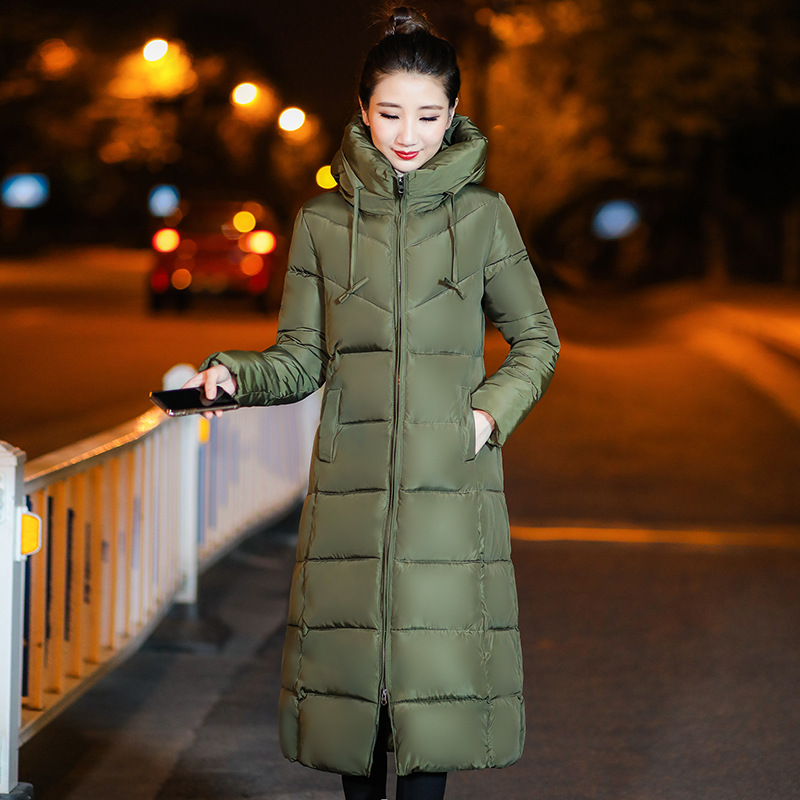 Winter Cotton Dress Women's Mid-length Over-the-Knee New Style Thick Korean-style Slim Fit Students Down Feather Cotton Jacket