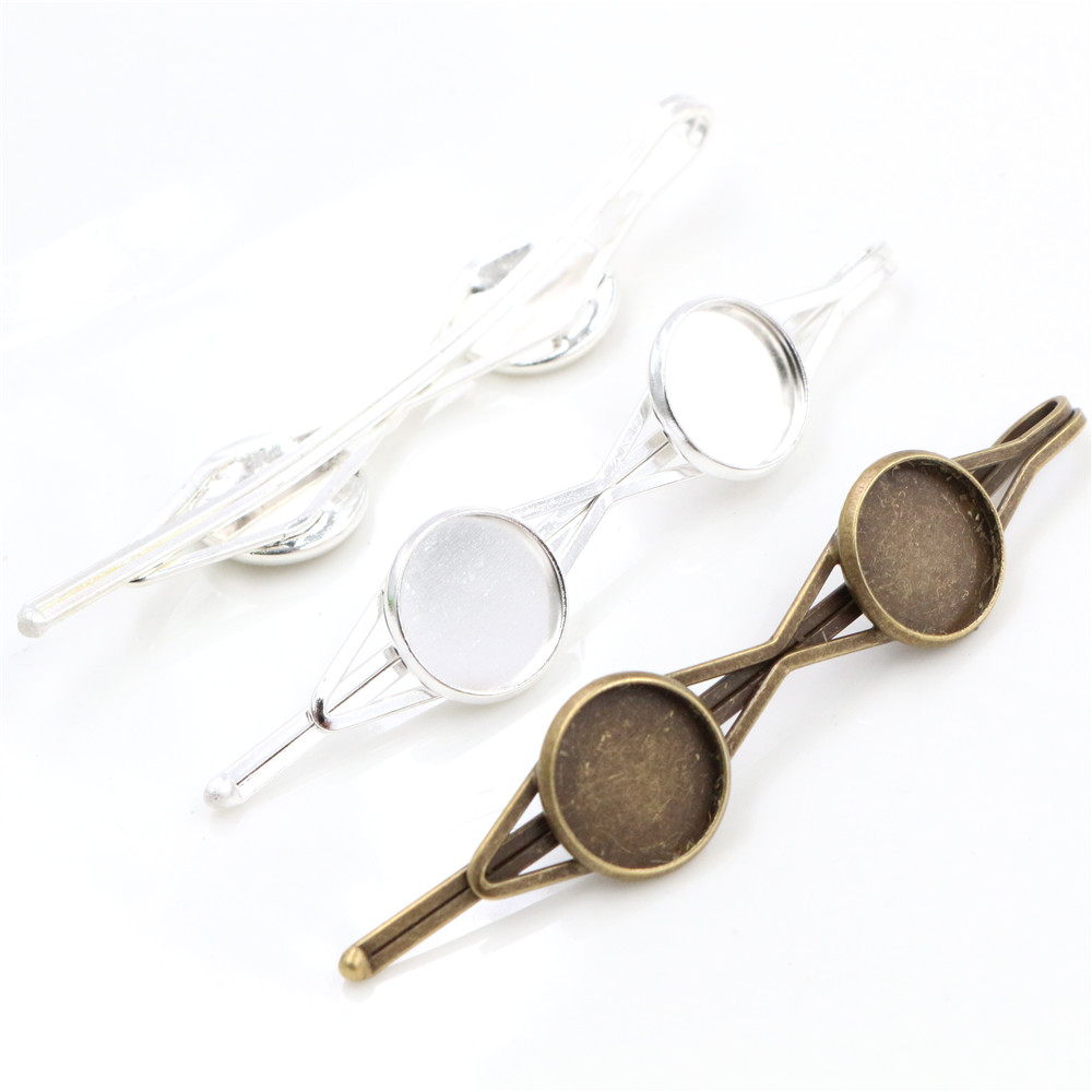 12mm 10pcs Two Cameo High Quality Bronze And Silver Plated Copper Material Hair Clips Hairpin Base Setting Cabochon Cameo