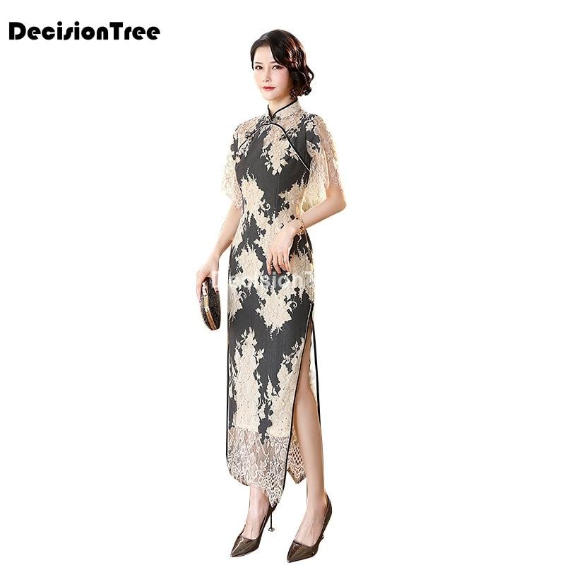 2021 female chinese style dress improved qipao style long dress sexy party dress evening dress lace cheongsam modern dress