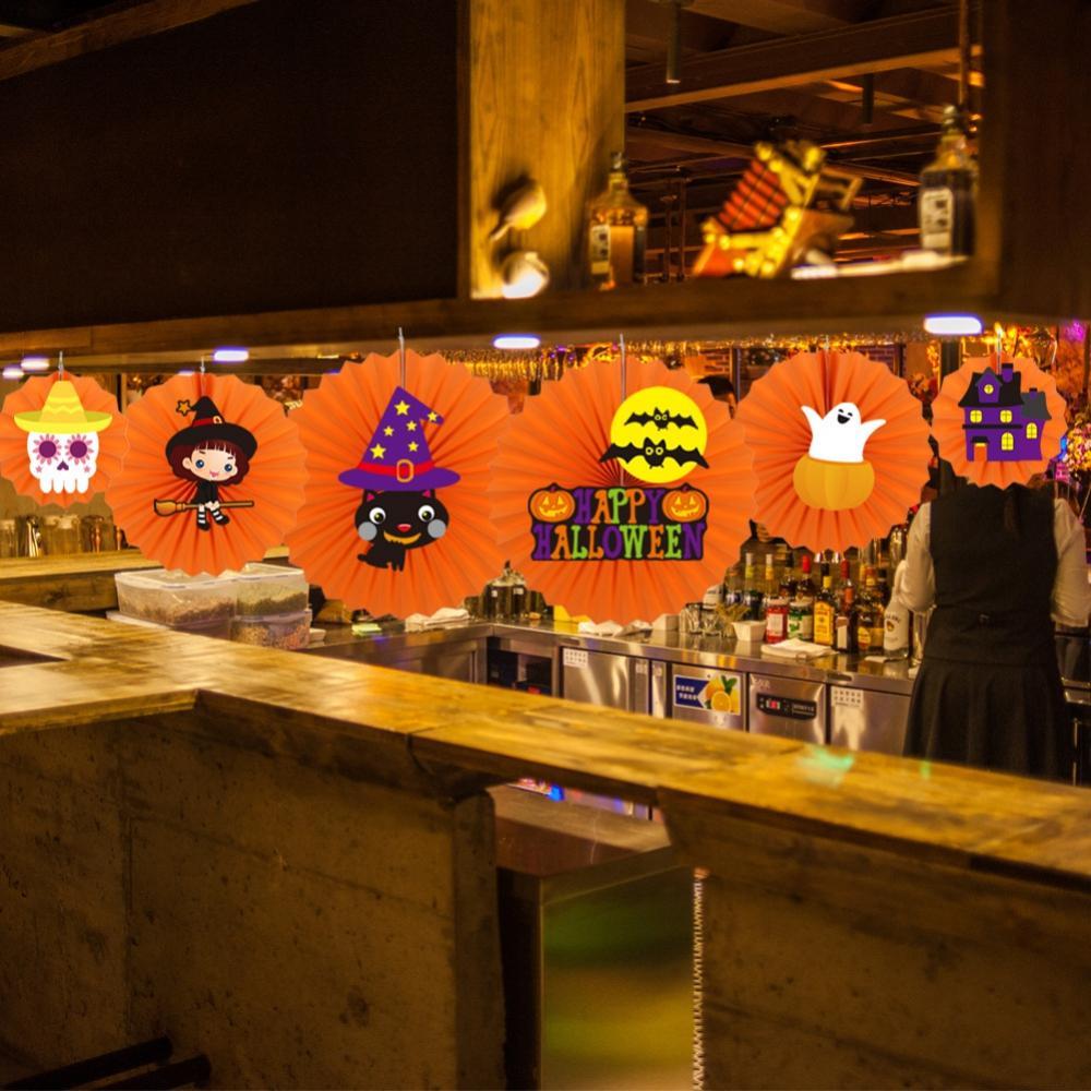 6 pièces Halloween à la main papier ventilateur décorations bricolage rond papier ventilateur fleur fête ornement fête décoration accessoires pour la maison