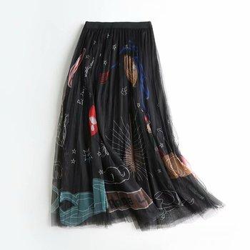 2020 kobiet Mesh tiulowe spódnice elastyczny wysoki stan Graffiti drukuj długie spódnice kobiet linii plisowana spódnica Saias Femme długie spódnice tanie i dobre opinie Poliester Osób w wieku 18-35 lat NONE WOMEN wk215 empire Na co dzień Kostek